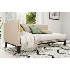 DHP Mid Century Tan Upholstered Modern Daybed By Avenue Greene Design Ideas