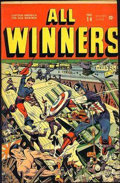 All-Winners Comics #14 (Winter '44-45) cover by Alex Schomburg. #comics #CaptainAmerica #SubMariner #Bucky