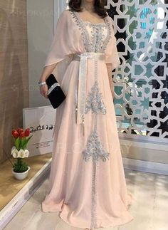 General Pink X-line Dress Day Dresses Elegant Polyester Spring Maxi Summer Fall Color Block M L Sleeves XL XXL Square Neckline Dress Muslim Fashion, Hijab Fashion, Fashion Dresses, Gothic Fashion, Women's Fashion, Day Dresses, Evening Dresses, Afternoon Dresses, Flapper Dresses