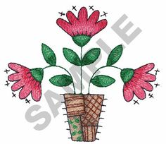 FLOWERS IN A POT embroidery design