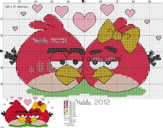 Angry Birds counted cross stitch