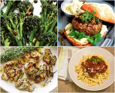 clockwise from top left): charred broccolini with garlic-caper sauce ...