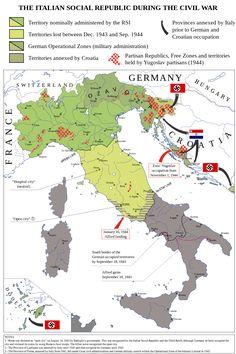 Italian civil war 1943-1945 by Emanuele Mastrangelo #map #italy #ww2
