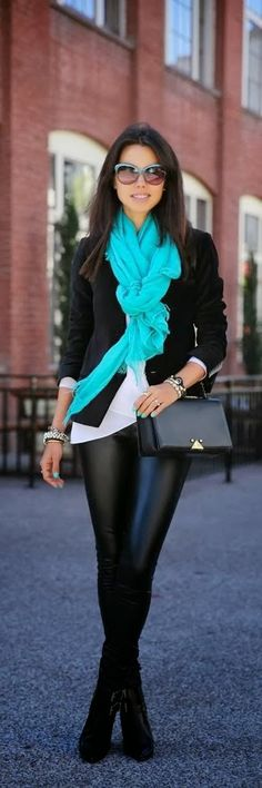 This bright teal scarf is such a fun way to make a crisp, classic work outfit exciting!
