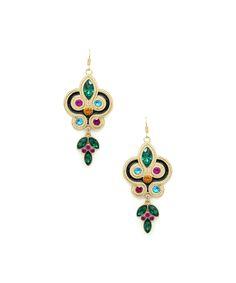 Eye Candy LA Gold & Green Swirl Drop Earrings