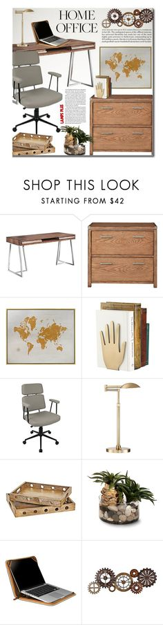 """""""Work Hard: Home Office"""" by beebeely-look ❤ liked on Polyvore featuring interior, interiors, interior design, home, home decor, interior decorating, Kate Spade, Possini Euro Design, John-Richard and Setton Brothers"""