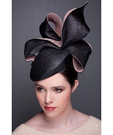 Fashion hat Black and Blush LaFayette Beret, a design by Melbourne milliner Louise Macdonald