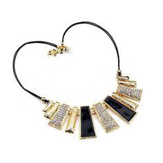 Black & Gold Panel Necklace