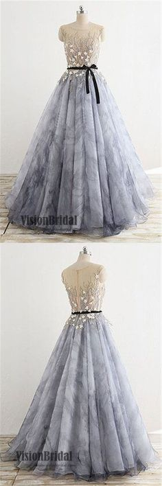 Scoop Neckline Sleeveless Zipper Up Prom Dress, Princess Flower Appliques Prom Dress With Ribbon, Prom Dresses, VB0257 #promdress