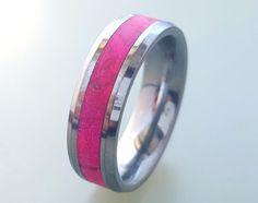 Tungsten Wedding Ring, Tungsten Carbide Ring, Tungsten Ring With Pink Box Elder Burl Inlay