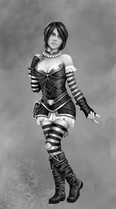 Striped Girl Study, Paul LaSalle on ArtStation at https://www.artstation.com/artwork/deB6x