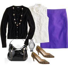 purple skirt, black sweater, black/white polka dot top, leopard shoes