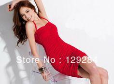 Summer Fashion women's wrinkle straps cross sexy strech  mini one piece Dress girl's lady wholesale retail $77.20