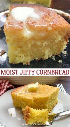 The buttery, moist, and amazingly delicious cornbread has a crunchy crust and a moist center that will keep you coming back for more. This really is the best Jiffy cornbread you'll ever eat. It's moist, topped with melting butter, and it is pure perfection. Jiffy Recipes, Jiffy Cornbread Recipes, Best Cornbread Recipe, Best Bread Recipe, Baking Recipes, Corn Bread Jiffy, Sweet Jiffy Cornbread, Sour Cream Cornbread, Delicious Cake Recipes