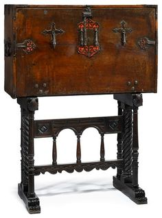 Spanish parcel gilt walnut and iron mounted Vargueno on stand