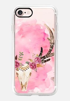 Casetify iPhone 7 Classic Grip Case - Floral Skull Watercolor Pink Boho Bohemian by Coral Antler Creative #Casetify
