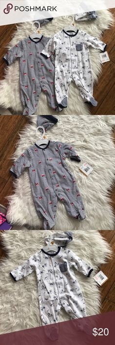 Baby outfit Little Me baby outfit. Footies with hats. Brand new with tags Little Me One Pieces Footies