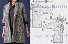 Cardigan (coat) with tselnokroyeny sleeves and a shalevy collar pattern on the sizes (dews. Coat Pattern Sewing, Sewing Coat, Coat Patterns, Dress Sewing Patterns, Jacket Pattern, Sewing Patterns Free, Sewing Clothes, Clothing Patterns, Diy Clothes