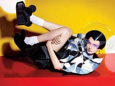 "Yumi Lambert in ""Junya Watanabe"" by Richard Burbridge for 10 Magazine, Spring/Summer 2015 Pop Art Fashion, Space Fashion, Fashion Images, Fashion 2015, Woman Fashion, High Fashion, Richard Burbridge, Fashion Colours, Colorful Fashion"