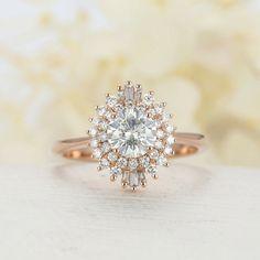 IGI Certified 1 Carat Round Diamond Engagement Band Set Solid 18K Rose Gold 5 7 #Handmade