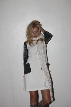 jersey leather knit combination dress