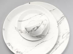 Carrara marble dinnerware by Bodo Sperlein