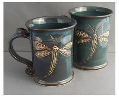 Hand carved dragonfly blue large mug