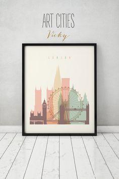 London print, Poster, Wall art, cityscape, London skyline, City poster, Typography art, Gift, Home Decor Digital Print, ART PRINTS VICKY.