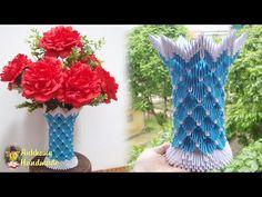 Paper Flower Vase Tutorial , Home Decoration Idea | 3D Origami Vase V20 Tutorial - YouTube