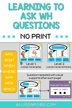 Learning to ask WH questions activities for speech therapy! Teach how to formulate and ask questions in a repetitive, consistent way! This is a NO PRINT, multilevel activity. Speech Therapy Autism, Speech Language Pathology, Speech And Language, Occupational Therapy, Speech Therapy Activities, Language Activities, Shape Activities, Play Therapy, Therapy Ideas