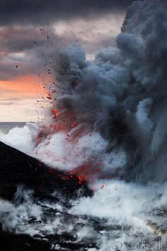 Lava explosion after dawn at the ocean entry of Kilauea volcano on the Big island of Hawaii! Photograph After dawn by Cj Kale on All Nature, Science And Nature, Amazing Nature, Hawaii Volcanoes National Park, Volcano National Park, Volcan Eruption, Volcano Photos, Landscape Photography, Nature Photography