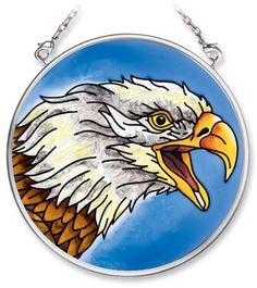 Amia 5498 Hand Painted Glass Suncatcher with Bald Eagle Design, 3-1/2-Inch Circle by Amia. $10.00. Comes boxed, makes for a great gift. Includes chain. Handpainted glass. Amia glass is a top selling line of handpainted glass decor. Known for tying in rich colors and excellent designs, Amia has a full line of handpainted glass pieces to satisfy your decor needs. Items in the line range from suncatchers, window decor panels, vases, votives and much more.