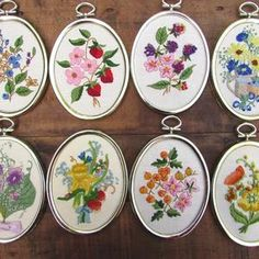 Crewel Embroidery Flowers Framed Vintage Your Choice of ONE | Etsy Crewel Embroidery Kits, Embroidery Patterns, Orange Butterfly, Wool Thread, Yellow Daisies, Embroidery For Beginners, Oval Pendant, Flower Frame