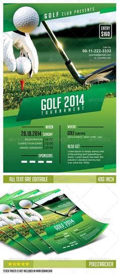 Golf Tournament Flyer Poster Magazine Template  Add Image