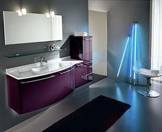 The Bathroom Ideas: Cool Purple Theme By Adding Fluorescent Lignt ...
