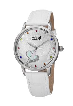 Women's Burgi Peacock Dial Mother of Pearl Heart Nulled Crystal Watch Silver Water, Pearl Diamond, Watch Sale, Mother Pearl, Cool Watches, White Leather, Swarovski Crystals, Jewelry Watches, Quartz