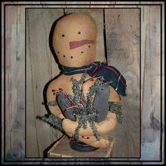 Primitive hand embroidered snowman make do 2 crows by lazydayzlucy