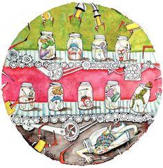 """Bottled Artists / Artistes embouteillés, Mixed media on St-Armand paper/ Techniques mixtes sur papier St-Armand, 21.5"""" round / 54.6 cm forme ronde. Artists, Fit, Paper"""