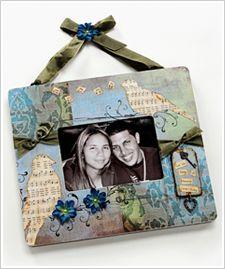 """Whimsical 'Love Birds' Collage Frame  By: Debbie Saenz - """"I wanted my frame to tell a beautiful story about the picture it holds. I created a playful collage using the depth and interest of texture with a variety of my favorite embellishments, while giving it the elegance of a vintage air."""""""