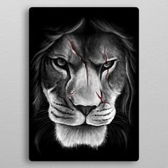 Draw Lions lion animal nature cat scar face blood unique digital art design illustration modern cool minmal monochrome black and white Animals - See amazing artworks of Displate artists printed on metal. Easy mounting, no power tools needed. Lion Tribal, Tribal Lion Tattoo, Lion Tattoo Design, Tattoo Designs, Poster S, Poster Prints, Wall Prints, Tattoo Planets, Band Tattoos