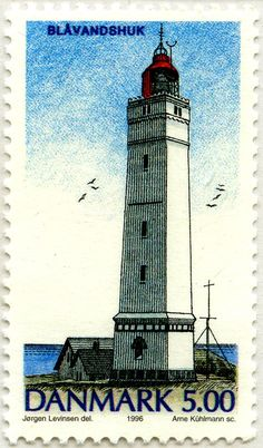 #Lighthouse - #Faros daneses: Faro de Blàvandshuk, Dinamarca 1996 postage #stamp http://dennisharper.lnf.com/