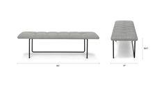 Horizon Winter Gray Bench - Benches - Article | Modern, Mid-Century and Scandinavian Furniture