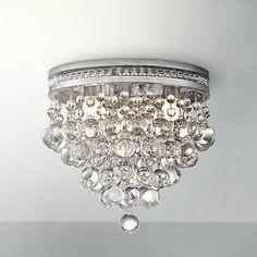 "Foyer light or master closet Regina Brushed Nickel 12"" Wide Crystal Ceiling Light"