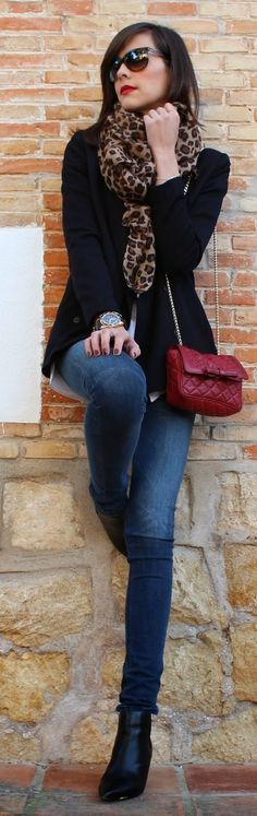 City 'Chic' Fashion & Style ❤ ♥ Leopard Scarf Outfit by Be Trench