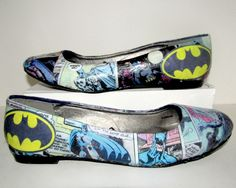 Classic vintage Batman flats handmade on Etsy for $50! www.etsy.com/shop/custombykylee