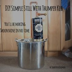 In this article I am going to explain how to build your own still and thumper keg for a low cost that is easy to use and good for learning the basics of home distillation. Materials Needed First th… Lemonade Moonshine Recipe, Copper Moonshine Still, How To Make Moonshine, Homemade Still, Reflux Still, How To Make Gin, Copper Pot Still, Small Stove, Drink