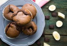 9 iszonyú jó csokis-banános muffin Nutella, Holi, Muffins, Cupcakes, Bread, Breakfast, Sweet, Recipes, Yogurt