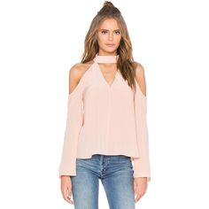 keepsake Stay Close Long Sleeve Silk Top ($185) ❤ liked on Polyvore featuring tops, fashion tops, pink cold shoulder top, open shoulder top, long sleeve silk top, pink long sleeve top and long sleeve open shoulder top