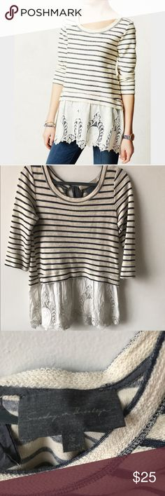 Anthropologie Sunday in Brooklyn Sweatshirt Sunday in Brooklyn for Anthro striped sweatshirt with lace insert at hem. Super cute and easy to wear. This top has been worn and loved but in great condition with just a little bit of pilling here and there. Please feel free to ask any questions! Anthropologie Tops Sweatshirts & Hoodies