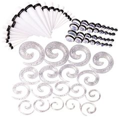 Qmcandy 54pcs 14G-00G Acrylic White Tapers + Clear Spiral... https://www.amazon.com/dp/B06XBD87Q3/ref=cm_sw_r_pi_dp_x_-xHUyb7XAVVVX